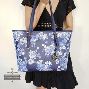 NWT Michael Kors Carryall Tote Navy Floral Bag